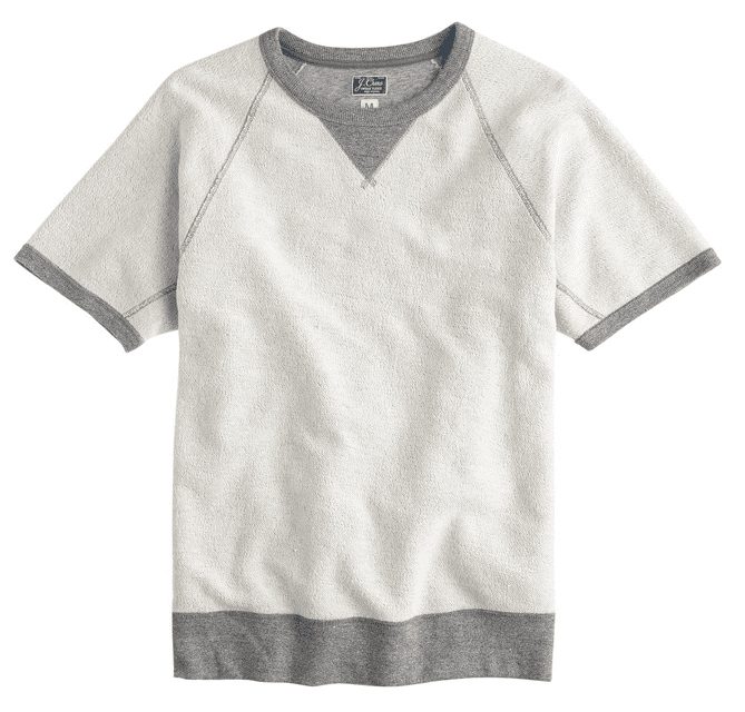 Short Sleeve Mens Sweatshirt in Gray Tone